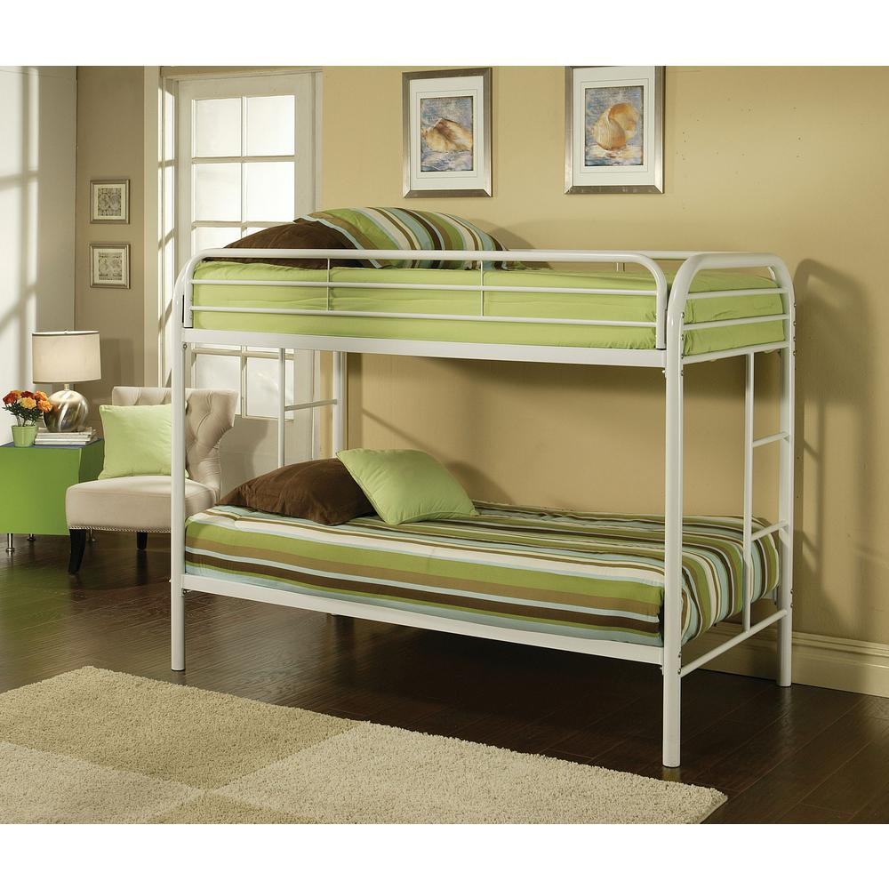 Acme Twin Over Twin Metal Bunk Bed White Thomas Photo
