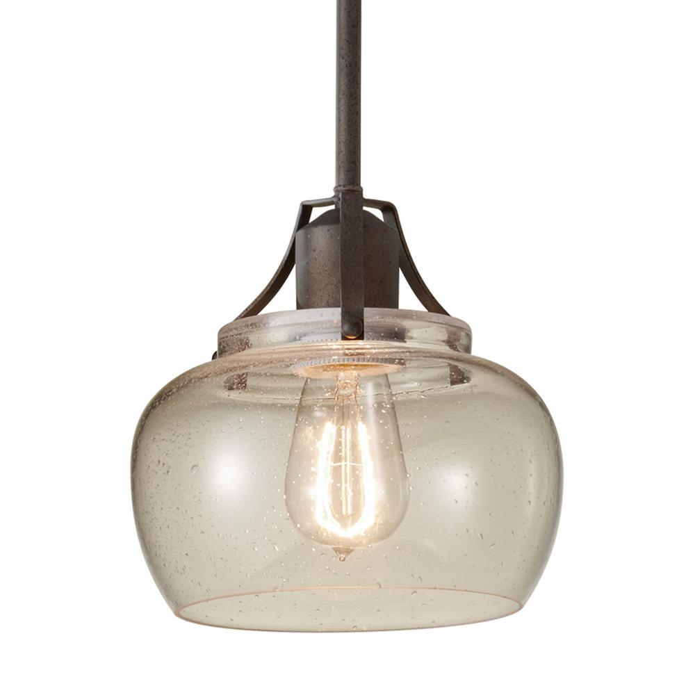 Urban Renewal 8 in. W.  1-Light Rustic Iron Mini Pendant