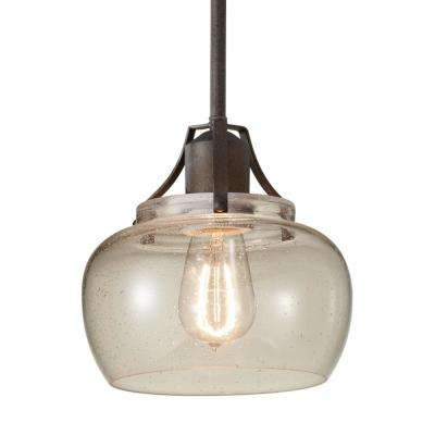 Urban Renewal 8 in. W.  1-Light Rustic Iron Mini Pendant