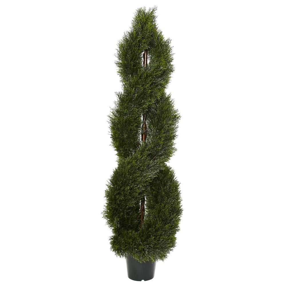 Nearly Natural 5 ft. Pond Cypress Spiral Topiary UV Resis...