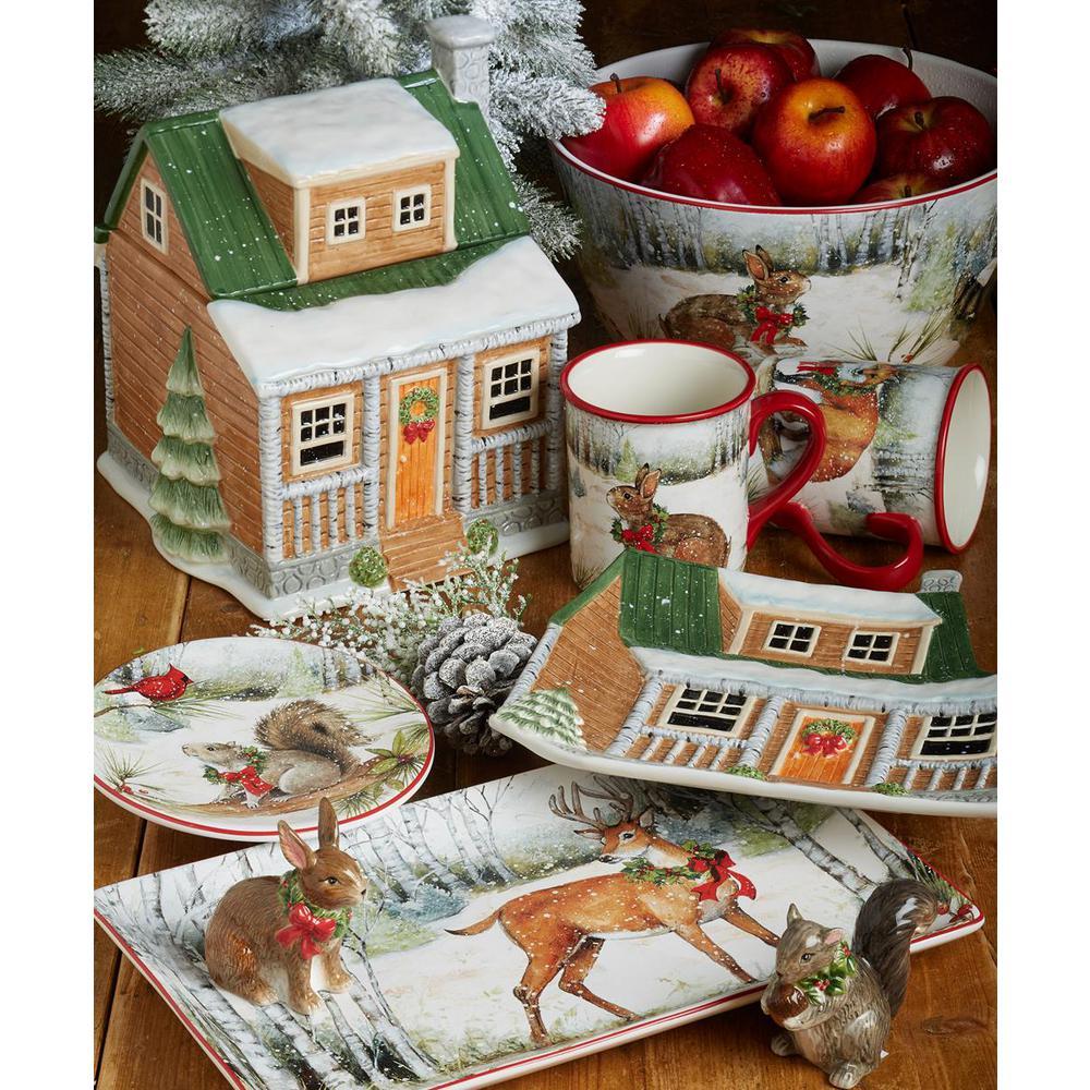 128 oz. Winter Forest 3D Lodge Multicolored Earthenware Cookie Jar