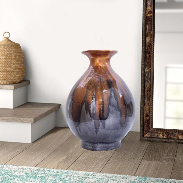 Shelly Copper, Pewter Ceramic Decorative Vase