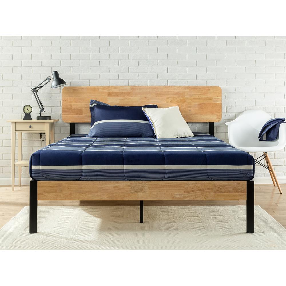Zinus Olivia Metal and Wood Platform Bed Frame, King
