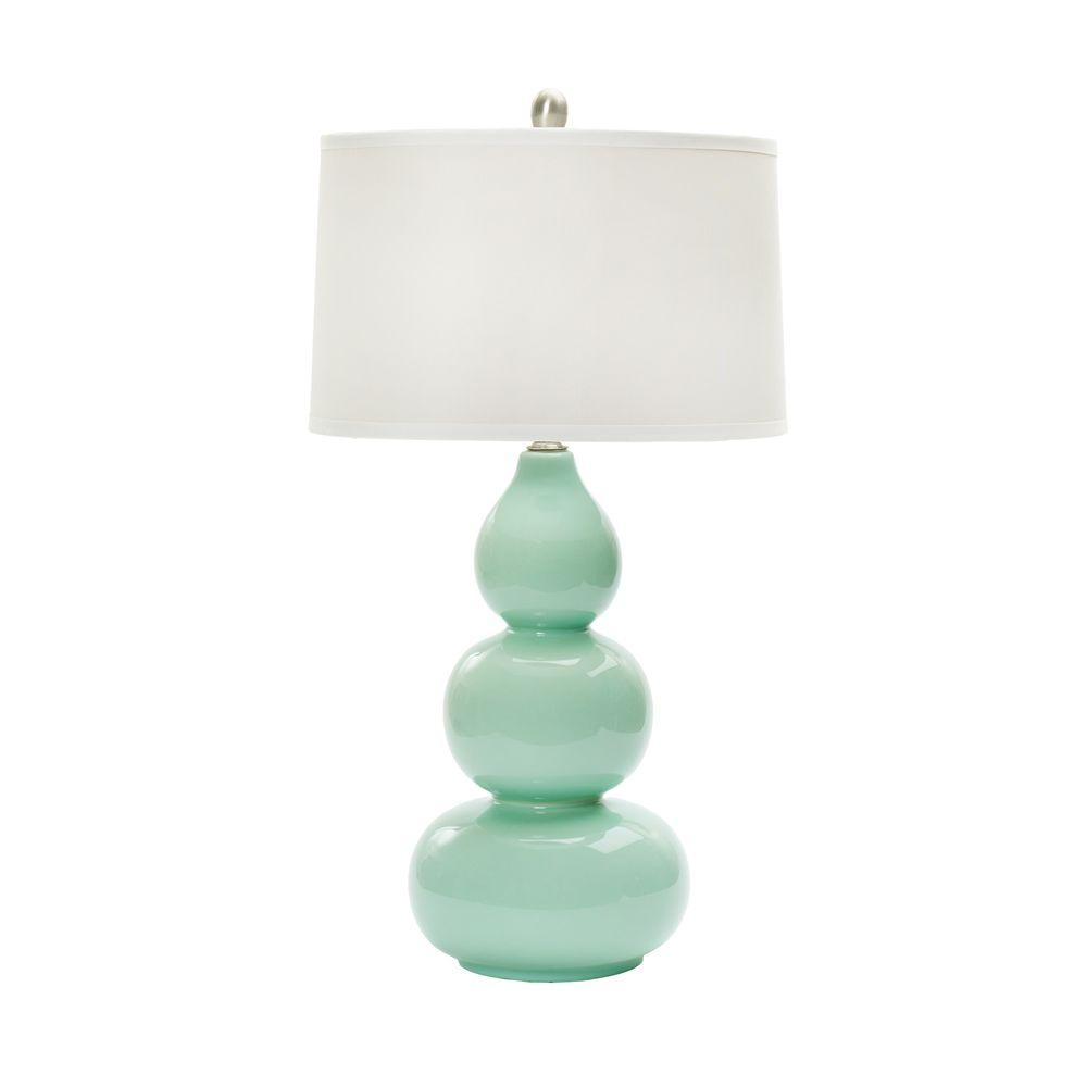 28 in. Mint Green Ceramic Table Lamp