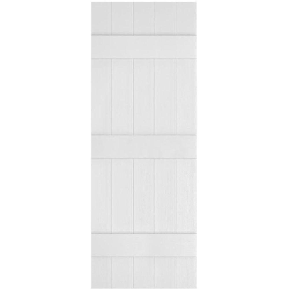 Ekena Millwork 17-1/2 in. x 90 in. Lifetime Vinyl Custom Five Board Joined Board and Batten Shutters Pair White