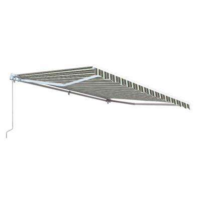 13 ft. Motorized Retractable Awning (120 in. Projection) in Multi-Stripe Green