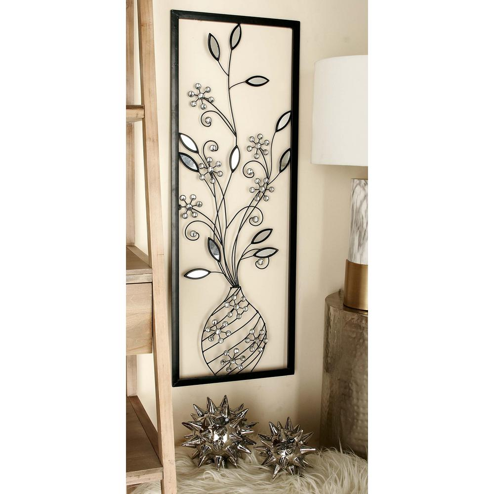 14 in x 39 in glitz inspired iron floral arrangement in for Wall decor arrangements