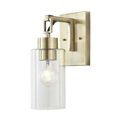 1-Light Antique Brass Retro Sconce