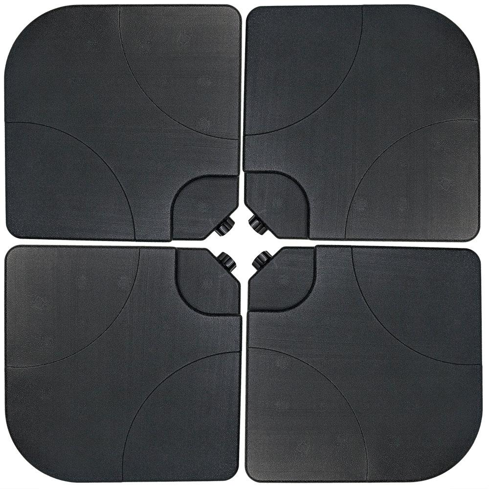 Sunnydaze Decor Plastic Cross-Style Patio Umbrella Base Weights in Black (Set of 4)