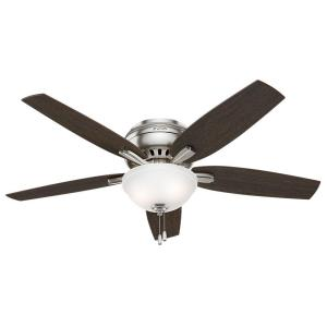 Hunter Newsome 52 inch Indoor Brushed Nickel Bowl Light Kit Low-Profile Ceiling Fan by Hunter
