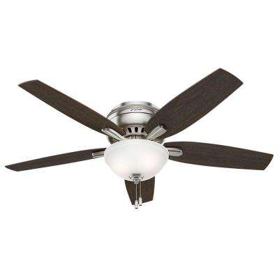 Newsome 52 in. Indoor Brushed Nickel Bowl Light Kit Low-Profile Ceiling Fan Bundled with Handheld Remote Control