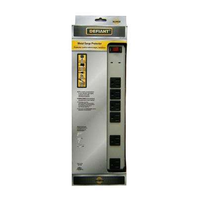 6 Outlet Metal Surge Protector with 8 ft. Cord