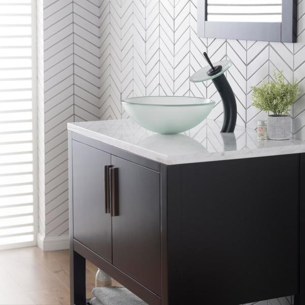 Kraus Glass Vessel Sink In Frosted Gv 101fr The Home Depot