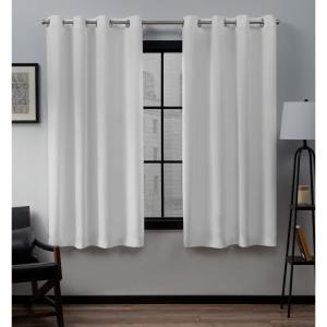 Loha 52 in. W x 63 in. L Linen Blend Grommet Top Curtain Panel in Winter White (2 Panels)