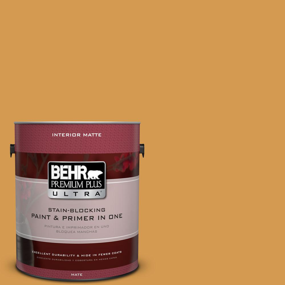 BEHR Premium Plus Ultra 1 gal. #PPU6-2 Saffron Strands Flat/Matte Interior Paint