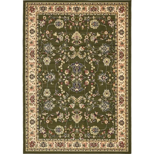 Unique Loom Sialk Hill Washington Green 7 0 X 10 0 Area Rug 3128761 The Home Depot