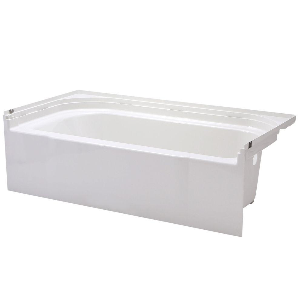 Kohler mariposa 5 ft acrylic left hand drain rectangular for Deep alcove bathtubs