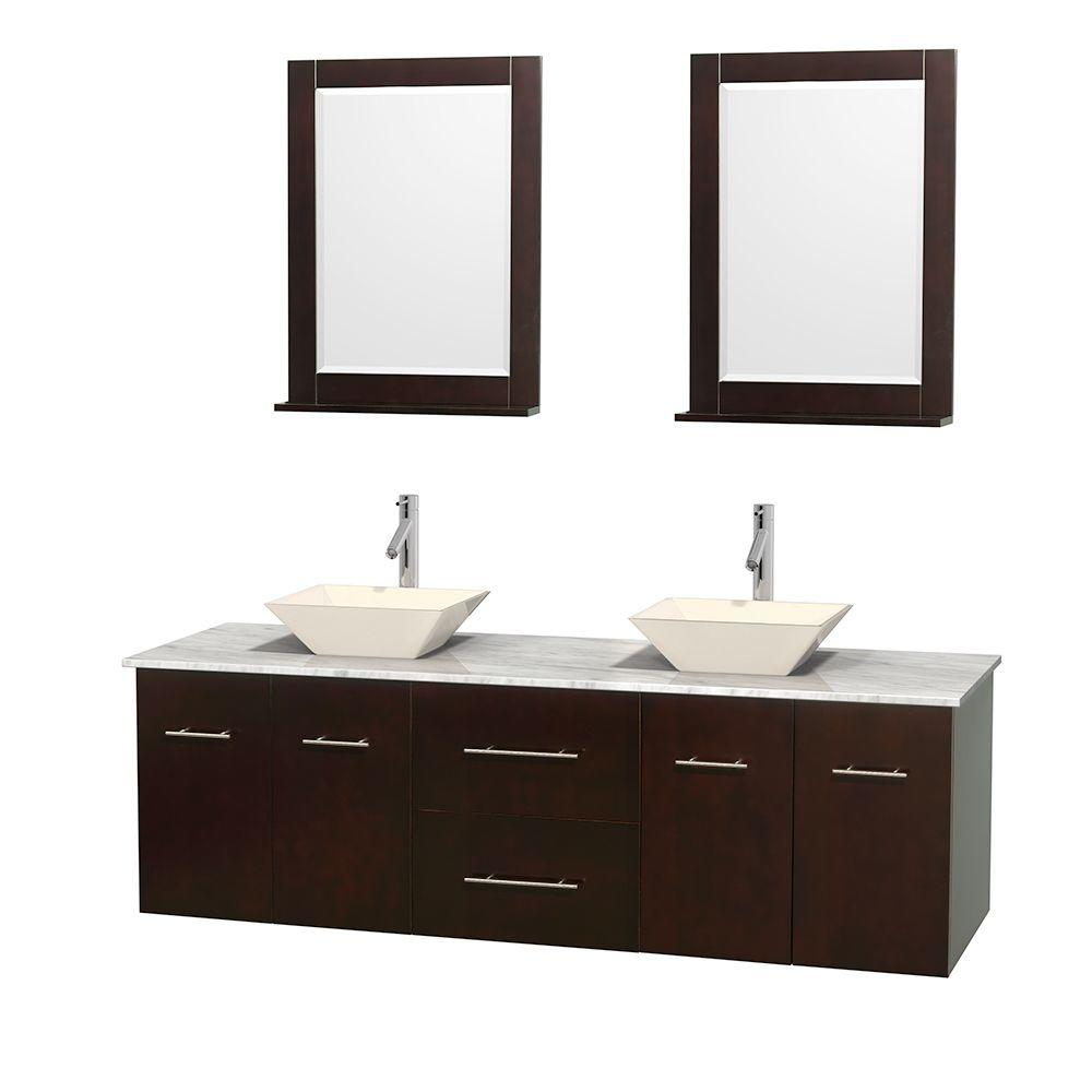 Wyndham Collection Centra 72 in. Double Vanity in Espresso with Marble Vanity Top in Carrara White, Bone Porcelain Sink and 24 in. Mirror