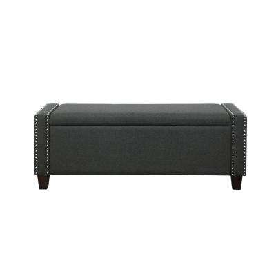Kelly Dark Olive Linen Storage Bench
