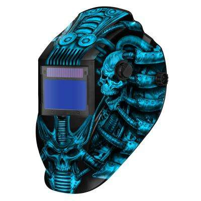 8735SGC Blue Techno Skull 9 -13 Shade Auto Darkening Welding Helmet with 3.78 in. x 2.05 in. viewing area