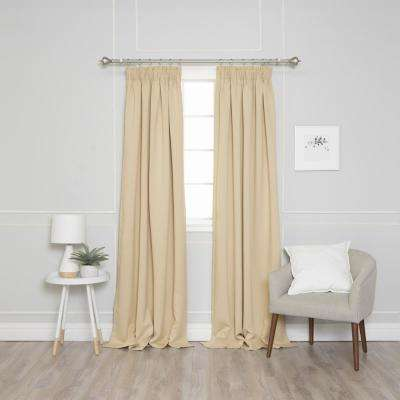 84 in. L Pencil Pleat Blackout Curtains in Beige (2-Pack)