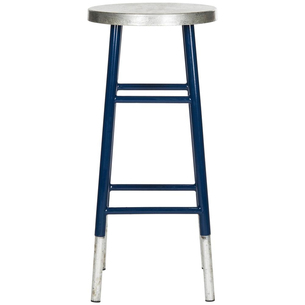 Silver dipped bar stool in navy