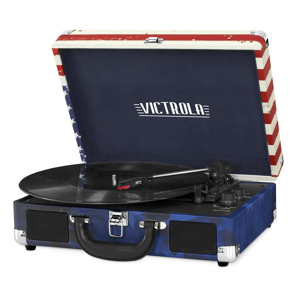 Bluetooth Suitcase Record Player with 3-Speed Turntable, US Flag