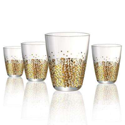 10 oz. Double Old Fashion Glass with Gold and Silver Confetti Decoration (Set of 4)