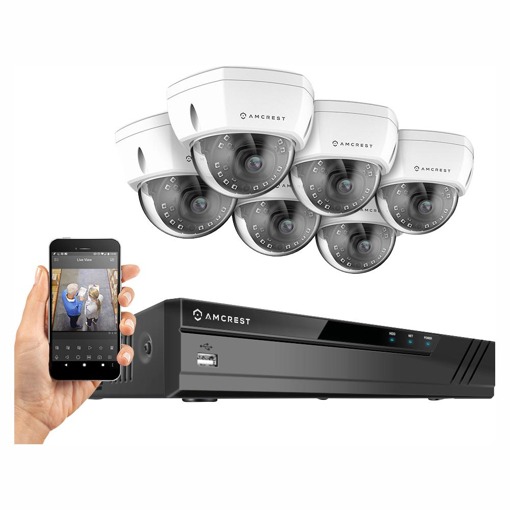 Amcrest Plug & Play H 265 8-Channel 4K NVR 8MP Surveillance System with 6  Wired POE Dome Cameras with 98 ft  Night Vision