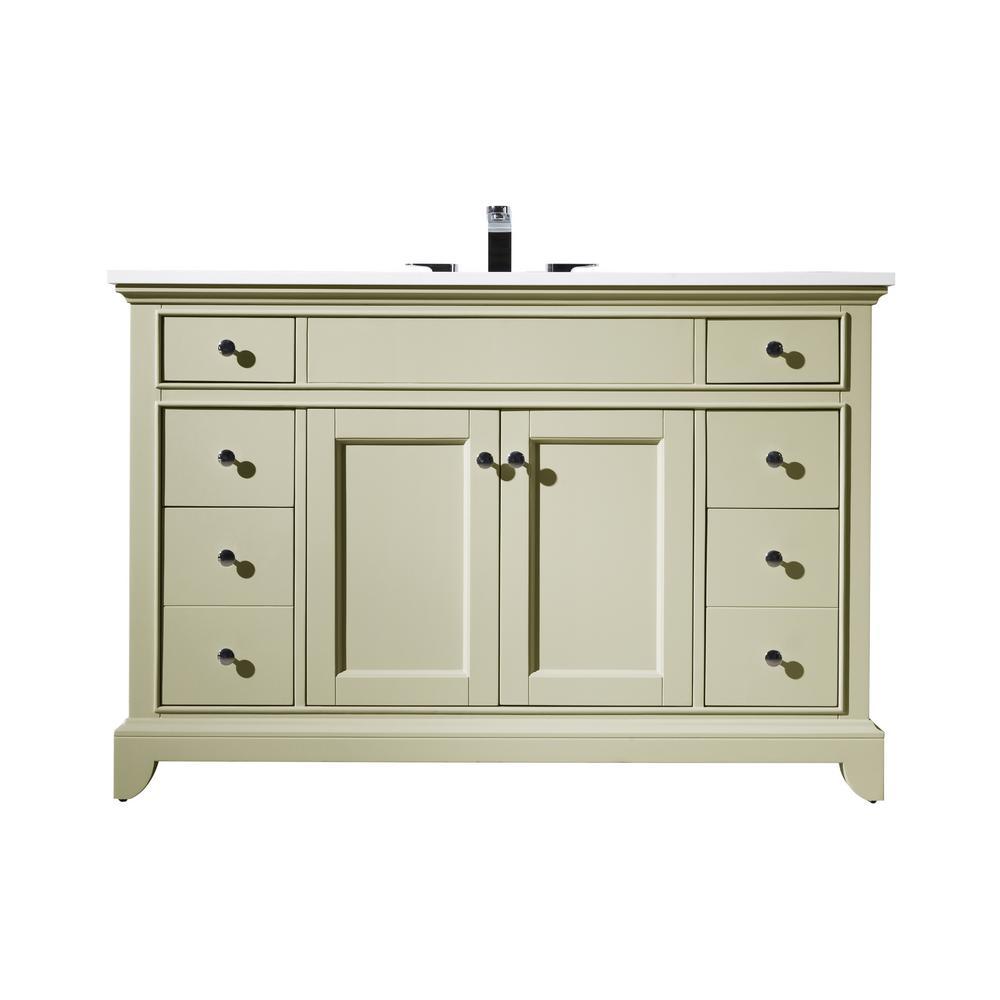 Stufurhome Erin 49 In. Single Sink Bathroom Vanity With Quarz Vanity Top  And White Basin