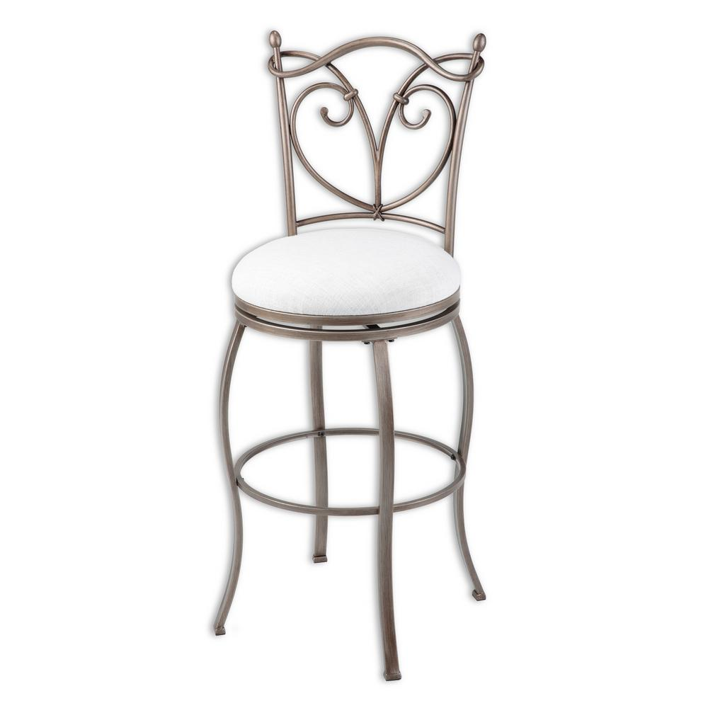 Superieur Juneau Metal Bar Stool With White Upholstered Seat And Nickel