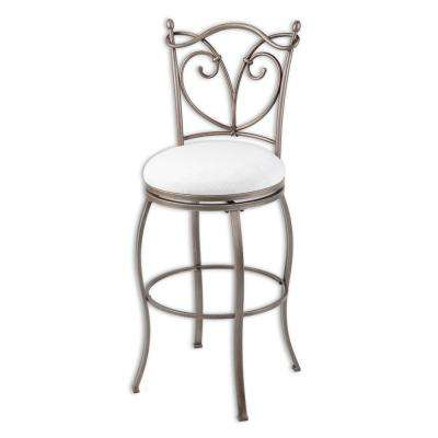 30 in. Juneau Metal Bar Stool with White Upholstered Seat and Nickel Frame Finish