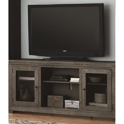 Willow 68 in. Distressed Dark Gray Wood TV Stand Fits TVs Up to 70 in. with Storage Doors