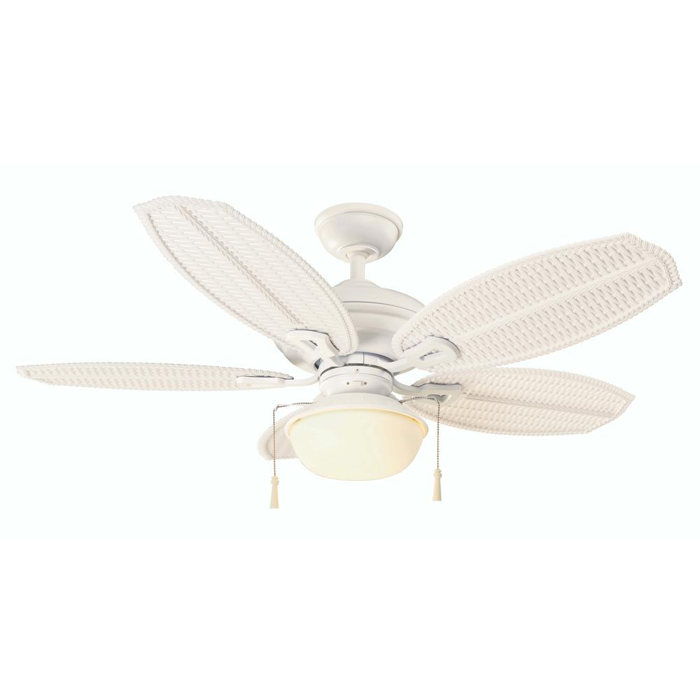 Beach Style Ceiling Fans: Hampton Bay Palm Beach III 48 In. LED Indoor/Outdoor Matte