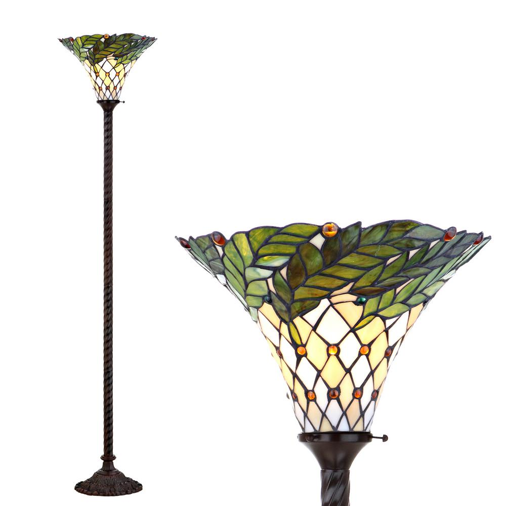 Jonathan Y Botanical Tiffany Style 71 In Bronze Torchiere Floor Lamp