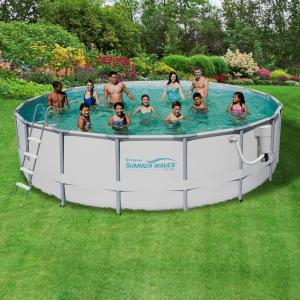 Summer waves elite 18 ft round 52 in deep metal frame swimming pool package nb2041 the home for Above ground swimming pools nz