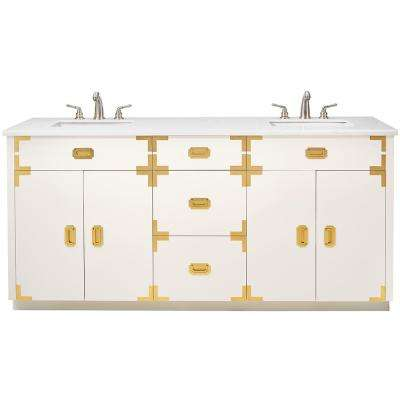 Chatham 72 in. W Double Vanity in White with Faux Stone Vanity Top in White with White Sinks