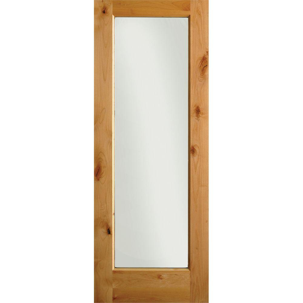 28 in. x 80 in. Krosswood Rustic Knotty Alder 1-Lite with