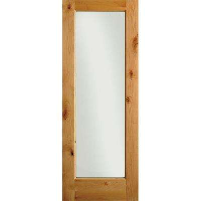 28 in. x 96 in. Rustic Knotty Alder 1-Lite with Solid Core Left-Hand Wood Single Prehung Interior Door