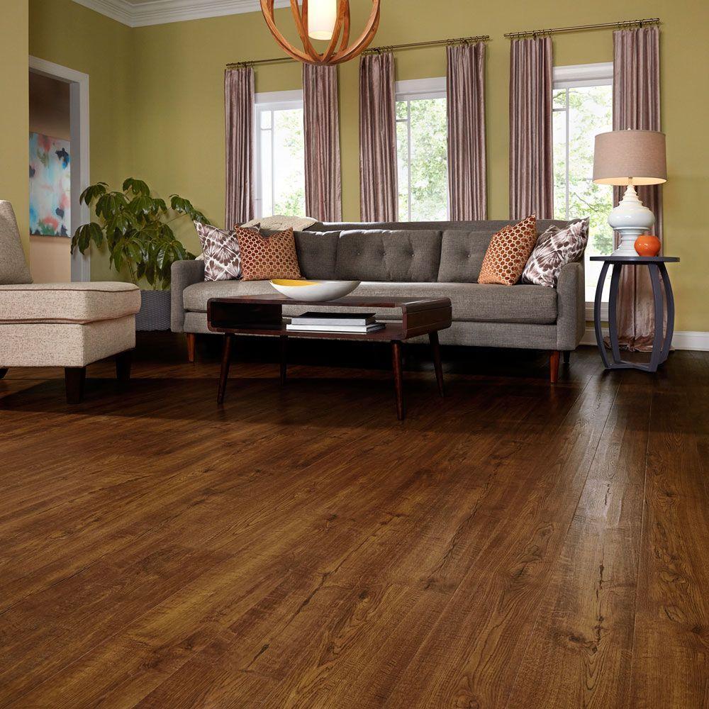 Outlast+ Waterproof Auburn Scraped Oak 10 mm T x 6.14 in. W x 47.24 in. L Laminate Flooring (16.12 sq. ft. / case)