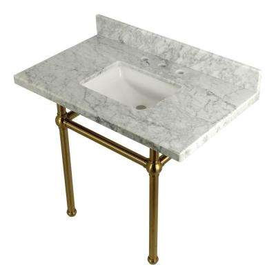 Square-Sink Washstand 36 in. Console Table in Carrara with Metal Legs in Satin Brass