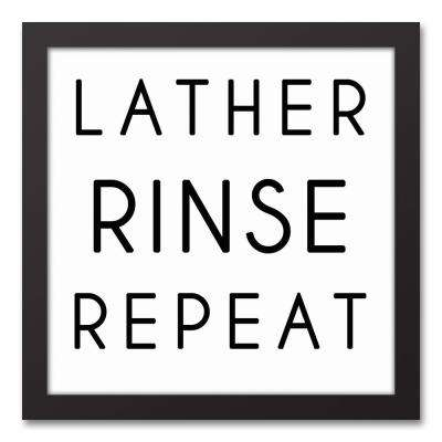 """12 in. x 12 in. """"Lather Rinse Repeat"""" Printed Framed Canvas Wall Art"""