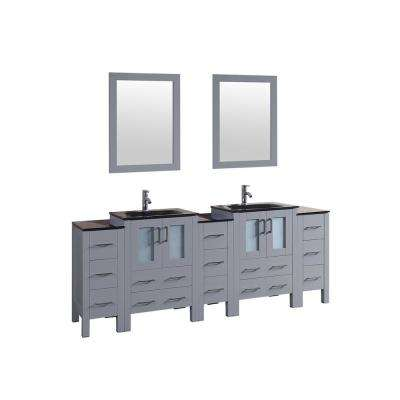 Bosconi 84 in. W Double Bath Vanity in Gray with Vanity Top in Black with Black Basin and Mirror