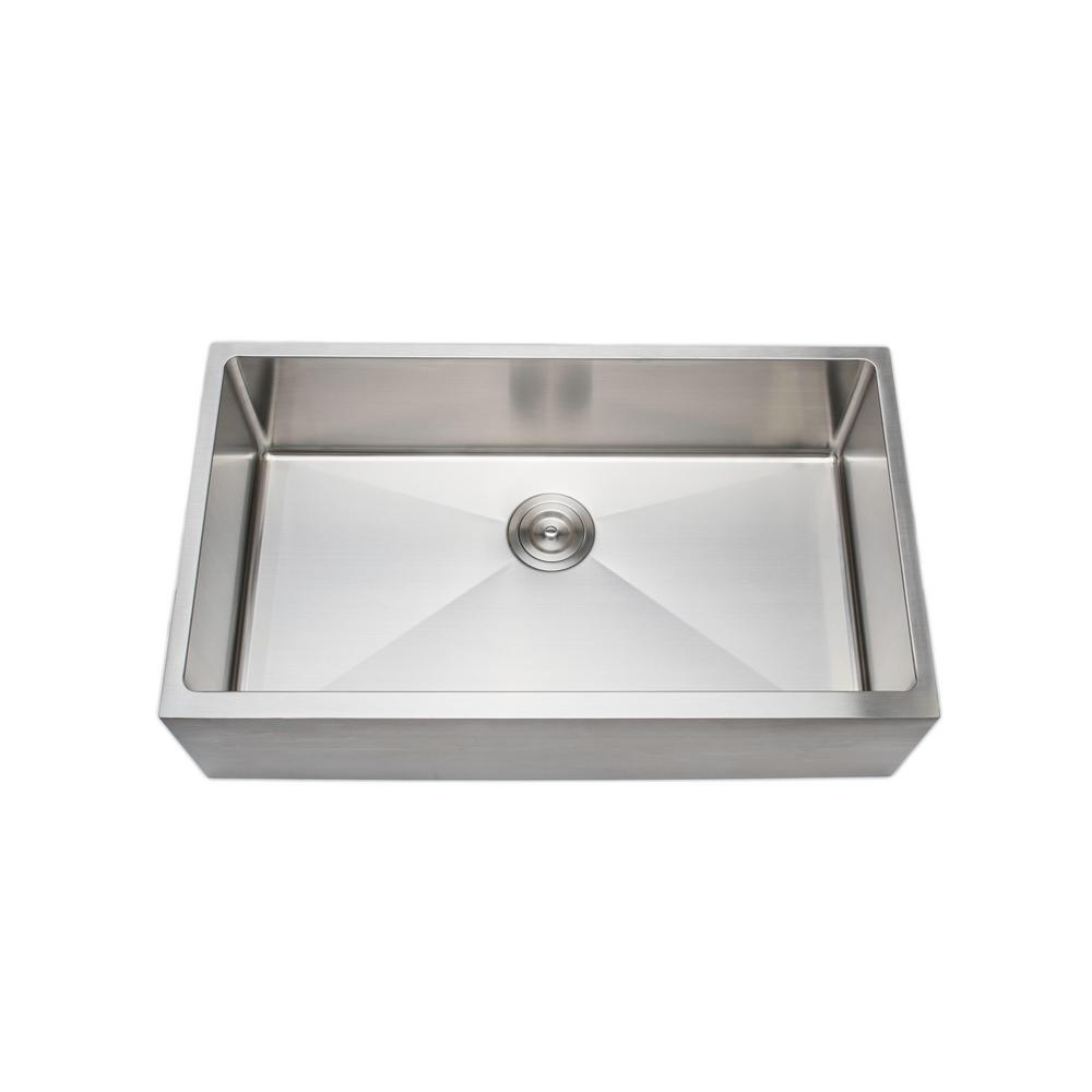 Wells The Chef S Series Farmhouse Apron Front 33 In Stainless Steel Handmade Single Bowl Kitchen Sink Csu3319 9 Ap The Home Depot