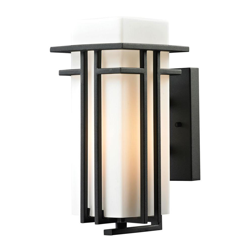 Titan Lighting Kelmscott Collection 1-Light Textured Matte Black Outdoor Sconce