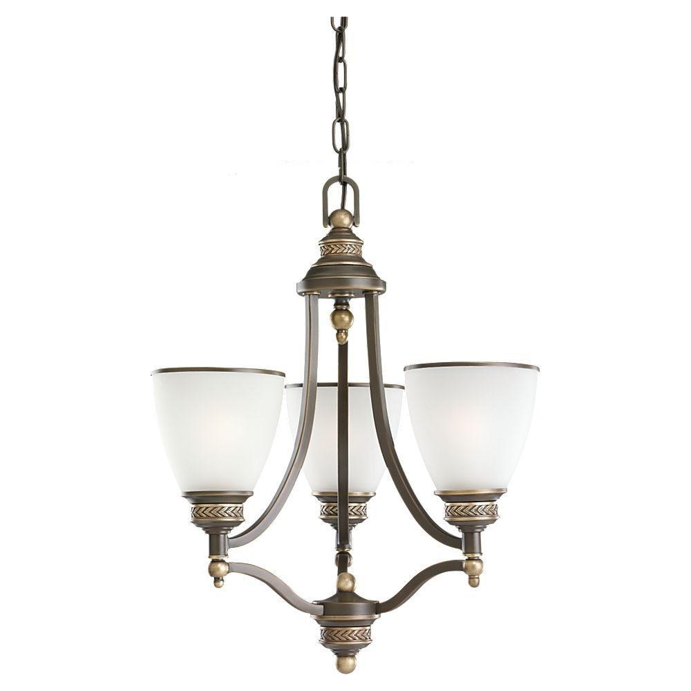 Laurel Leaf 3-Light Estate Bronze Single-Tier Chandelier
