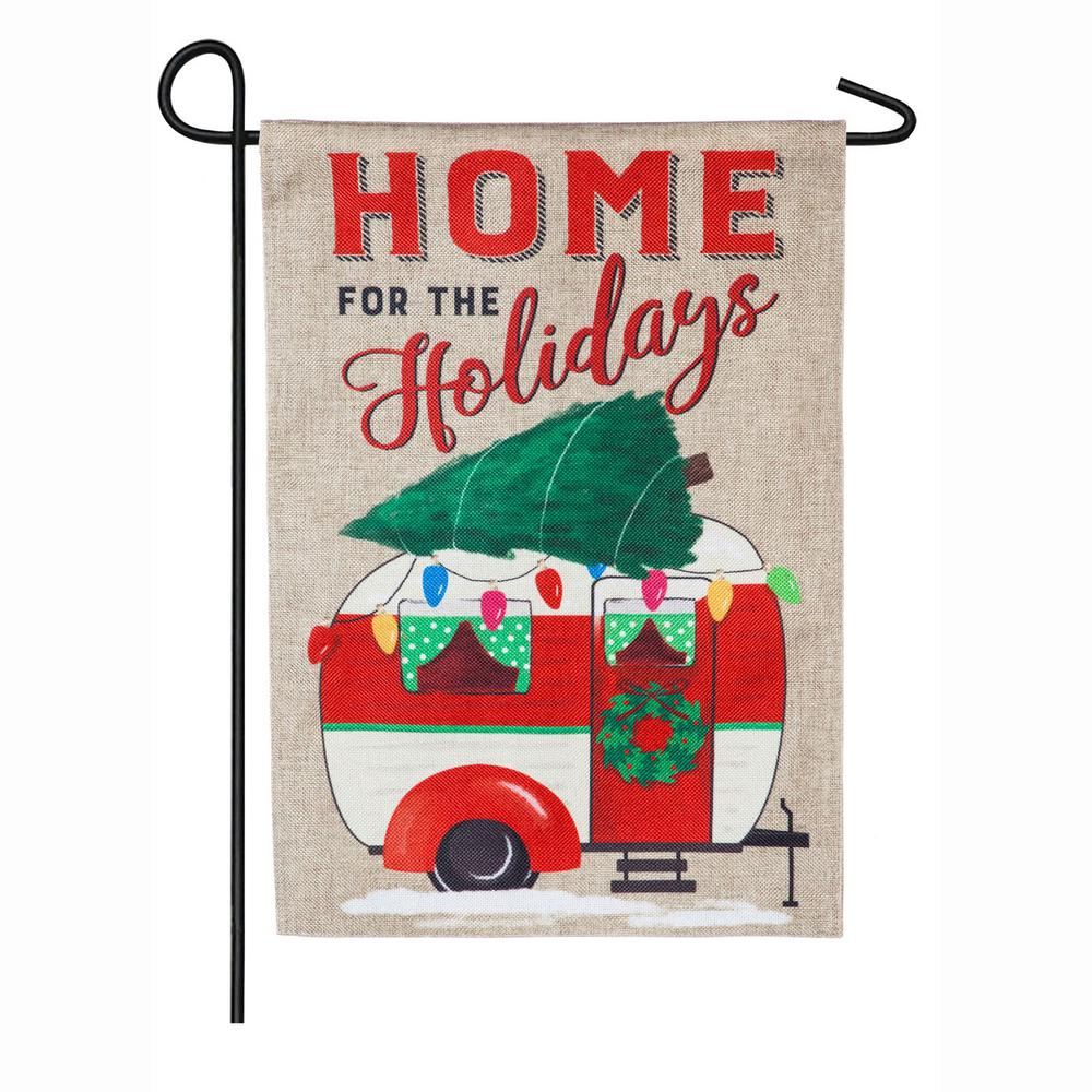 Evergreen 18 in. x 12.5 in. Home for the Holidays Camper Garden Burlap Flag