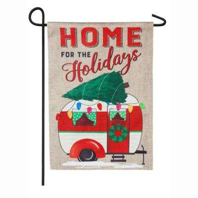 18 in. x 12.5 in. Home for the Holidays Camper Garden Burlap Flag