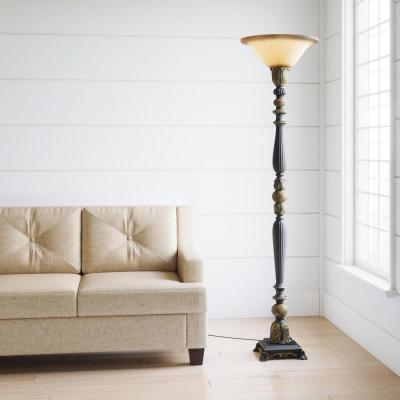 71.5 in. Dark Oil Rubbed Bronze Torchiere with Marble Accent