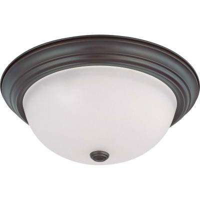 3-Light Mahogany Bronze Flushmount with Frosted White Glass